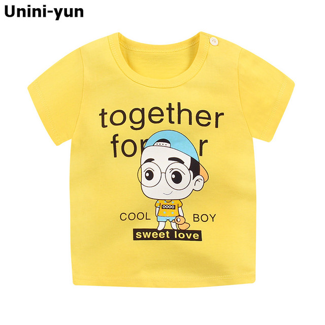 Summer Kids Baby Boy T-shirt Child Short Sleeve Human Printed Cotton Casual Baby Clothing Tops T-Shirts 9m-6Years summer top
