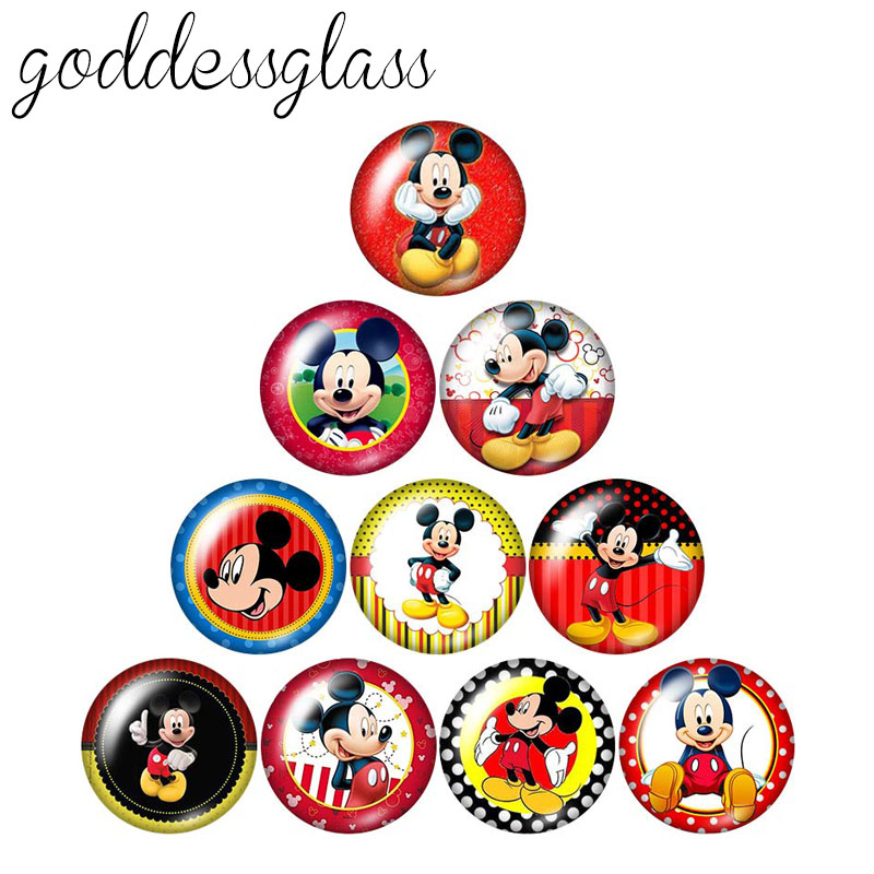 Cartoon Lovely Mickey 10pcs 12mm/18mm/20mm/25mm/30mm Round Photo Glass Cabochon Demo Flat Back Making Findings ZB0472