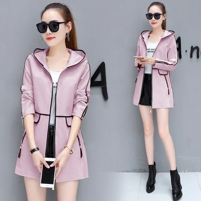 Fashion women's long coat Slim female spring and autumn spring new women's Korean version of the wild thin hooded leisure trend 27