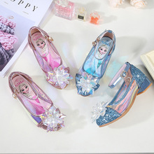 2019 New Model Baby Girls Princess Shoes Childrens High Heel Sandals Casual Cartoon Elsa Printing Crystal