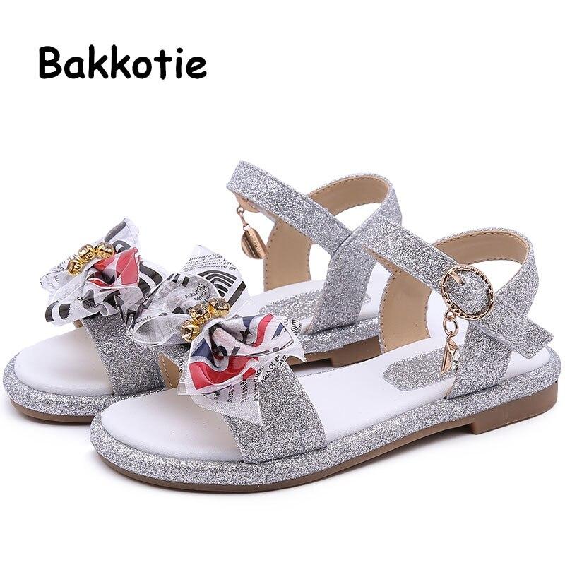 Bakkotie 2019 Princess Summer Fashion Colorful Bowtie Sandals Girls New Pink Causal Sandals Shoes Kids Soft Party Shoes