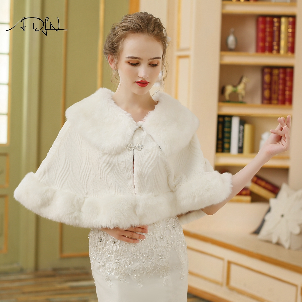 ADLN Cheap Winter Cloak Jacket for Wedding Bridal Faux Fur Ivory Color Wrap Bolero with Brooch
