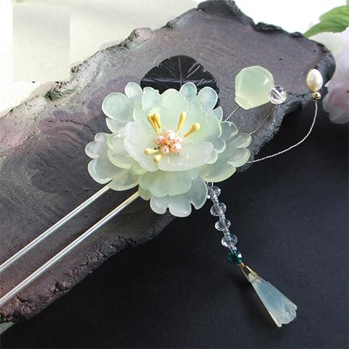 Chun Heng Green Xiuyan Jade Petal Black Jade Leaf Hair Stick Vintage Chinese Hanfu Costume Accessories Tassel Hair Stick oi chun of 72v