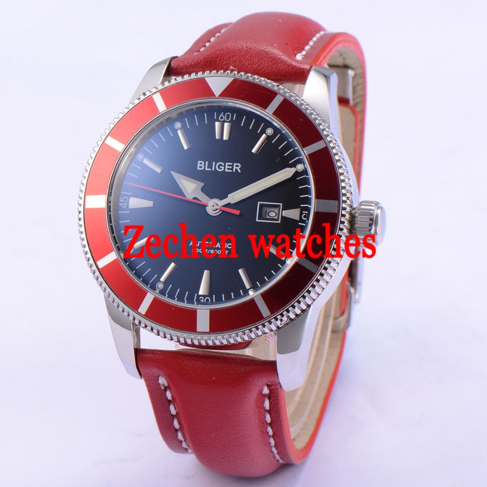 BLIGER 46mm Stainless red leather strap Steel Case Luminous Watch Automatic Mens Wristwatch цена и фото