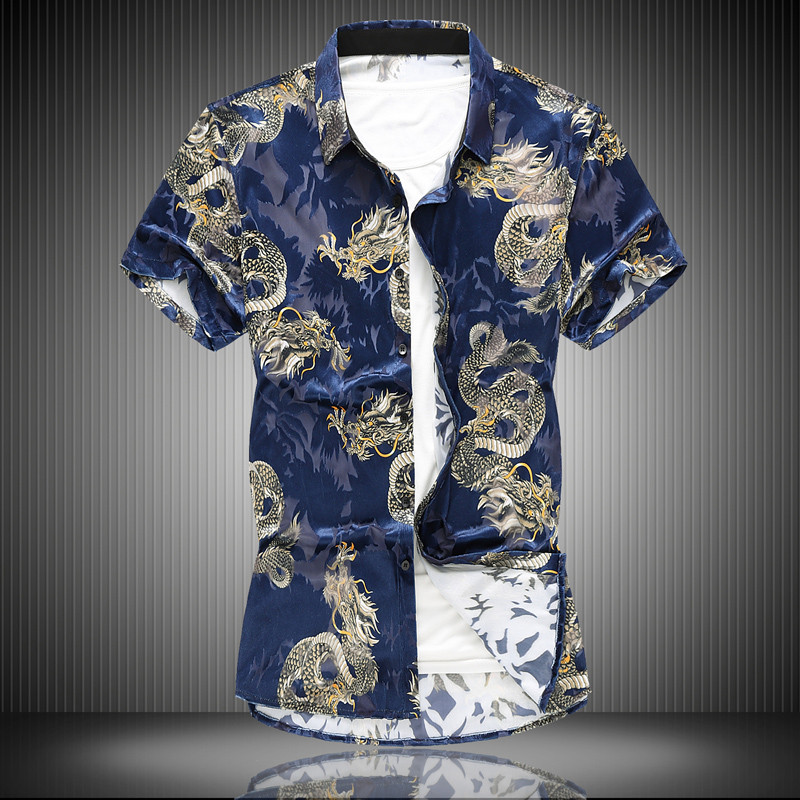 High-grade flannel hollow Chinese dragon Men 2019 Fashion printed Slim  shirts Hawaiian vacation Party casual shirt Homme 7XL(China)