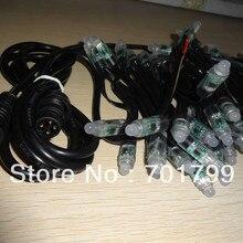 100 шт. DC12V вход IP68 WS2811 светодиодная точечная лампа, все черный провод, входной разъем с длиной 2 м 4 core мужской коннектор