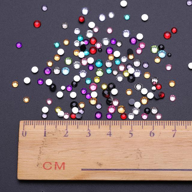 2000Pcs 12g/bag Colorful 3D Nail Rhinestone Mixed Size