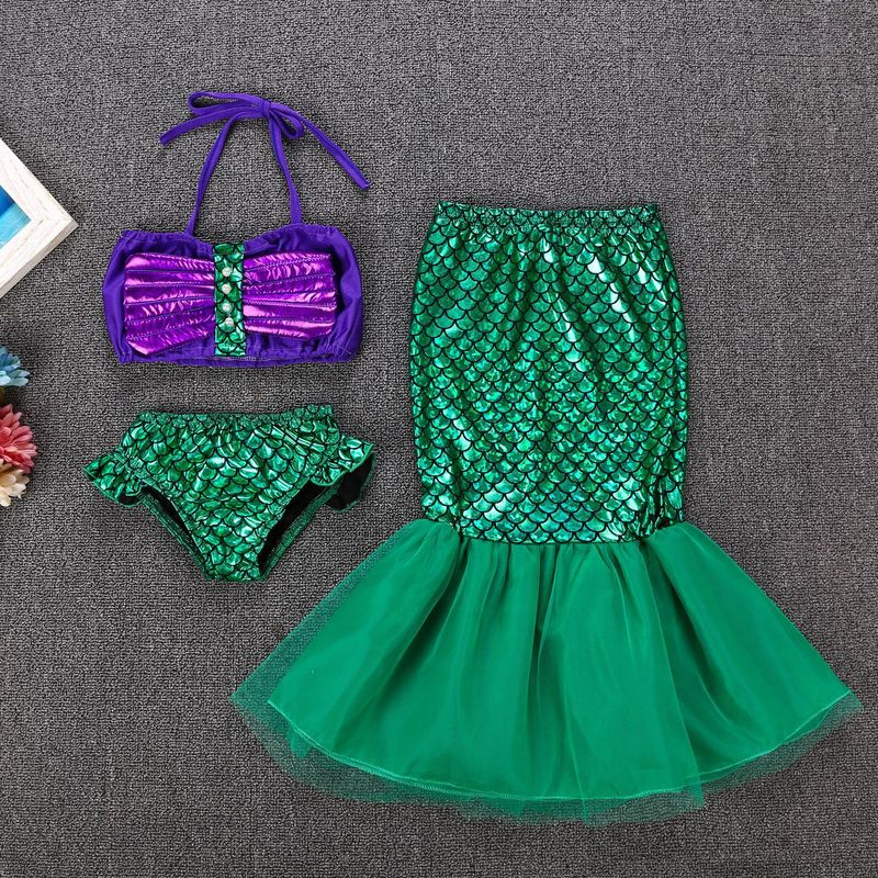 2019 Girls Children's Swimming Suit Mermaid Swim wear Party Dress Lace Skirt with Bar Shorts