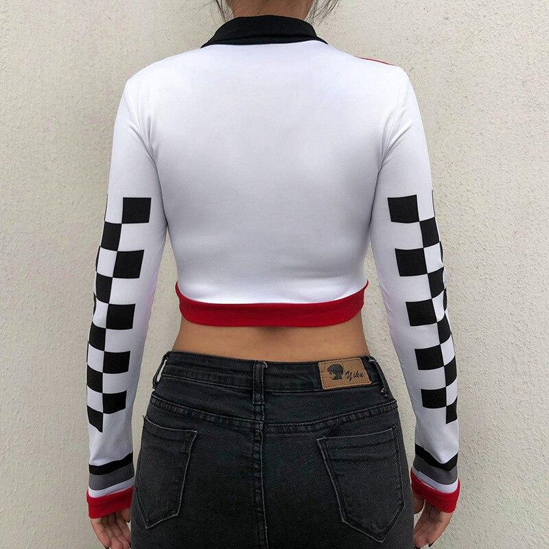 patchwork checkboard women t shirt (4)