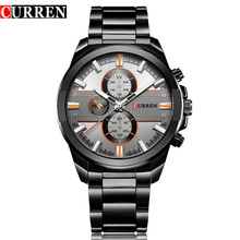 Novo curren marca de luxo homem aço completo negócios relógios pulso homem casual relógio à prova dcasual água quartzo relógios relogio masculino