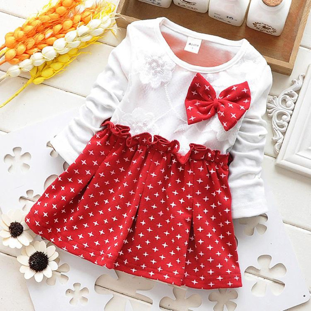 572fbfcf4 Baby Dress Long Sleeve Polka Dot with Bow Baby Dresses Girl ...