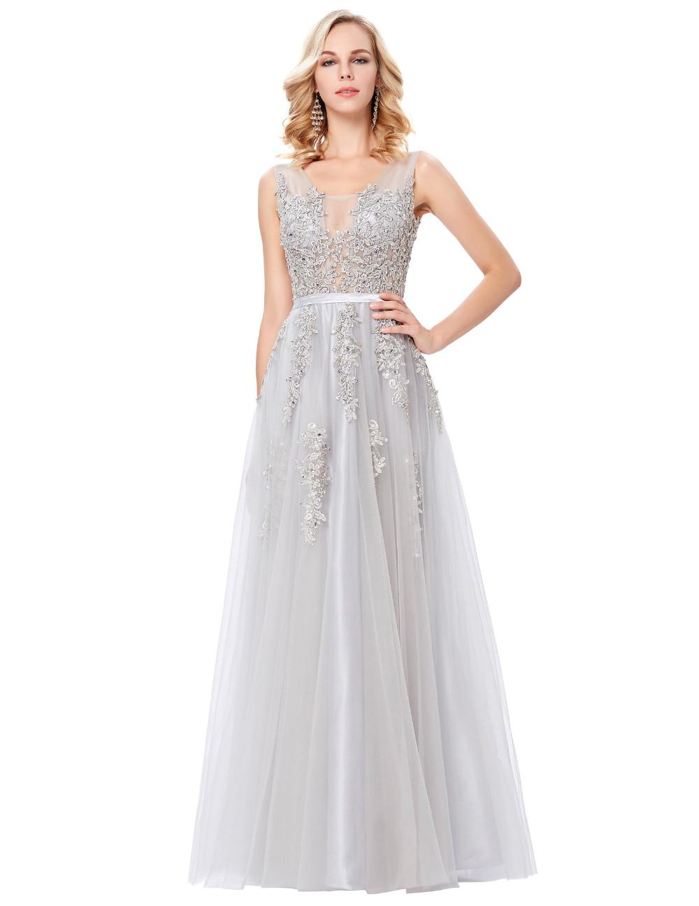 Grace Karin Tulle Appliques Celebrity Prom Dress Sexy V Back Sleeveless Long Royal Blue Robes De Soiree 2017 Longue Prom Dresses 18