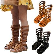 2019 Summer Fashion Roman Boots High-top Bowknot Girls Sandals Kids Gladiator Toddler Children Shoes P25