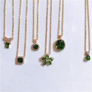 Image 2 - Vintage Natürliche Smaragd Halskette Anhänger Für Frauen 100% 925 Sterling Silber Grün Edelstein 18K Gold Schlüsselbein Kette Feine Schmuck
