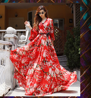 New 2017 autumn fashion women floor length chiffon long dress floral cherry floral print bohemian dresses red