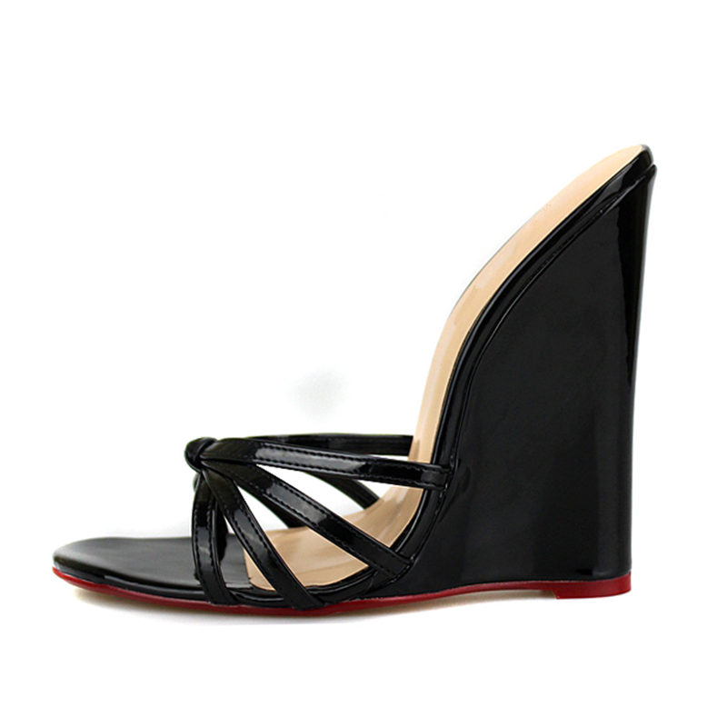 Plus Size 46 Summer Wedge Slippers Women Sexy High Heels Evening Party Beach Shoes Extreme Heel