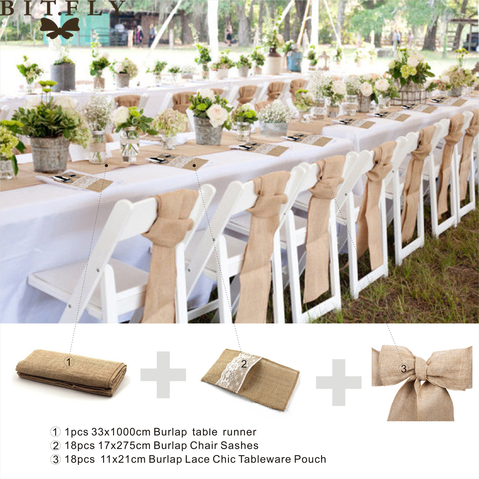 Rustic Wedding Decoration Burlap Chair Sashes jute Tie Bow burlap table runner Burlap Lace Tableware Pouch Banquet Home decor-in Party DIY Decorations from ...  sc 1 st  AliExpress.com & Rustic Wedding Decoration Burlap Chair Sashes jute Tie Bow burlap ...
