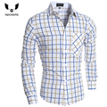 Camisa Cuadros Hombre Brand  Dress Shirts Mens Plaid Shirt Slim Fit  Men Shirt Heren Hemden Camisa Masculina XXL