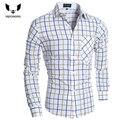 Camisa Cuadros Hombre Camisas de Vestido Da Marca Dos Homens Camisa Xadrez Slim Fit Camisa Dos Homens Heren Hemden Camisa Masculina XXL