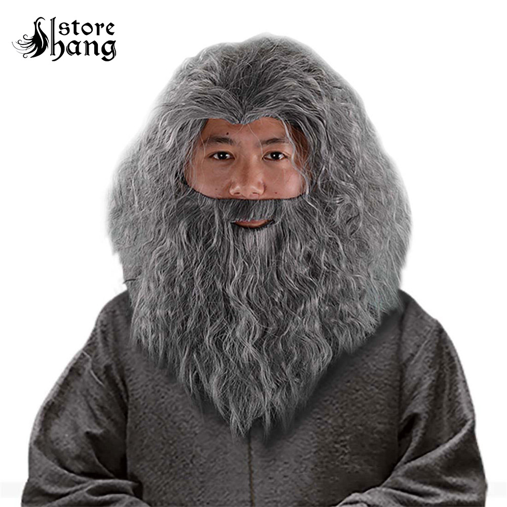 Us 28 79 20 Off Wizard Gandalf Cosplay Wig Long Curly Hair ...