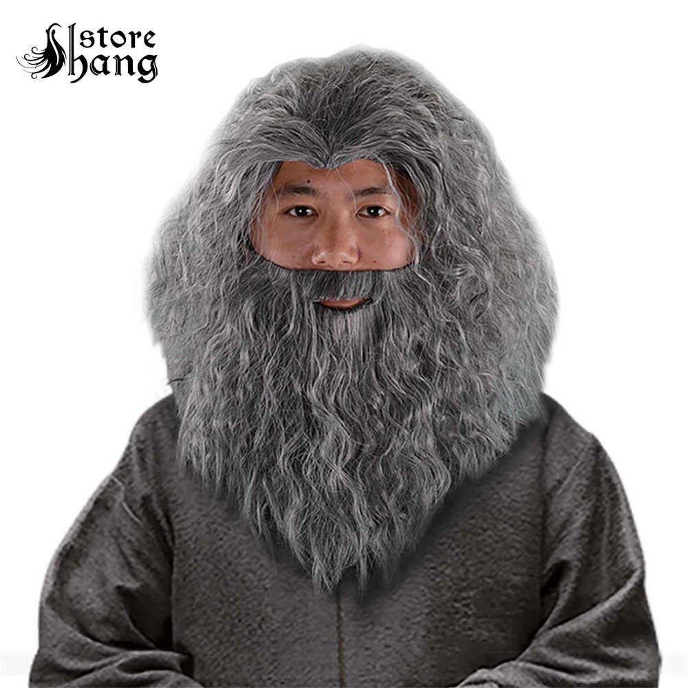 Wizard Gandalf Cosplay Wig Long Curly Hair Grey Beard Outfit Old Man Sorcerer Costume Wig Halloween Fancy Dress Accessories Movie Tv Costumes Aliexpress