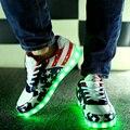 Женщины свет обувь 2017 горячие моды USB светодиодные светящиеся обувь женская повседневная обувь