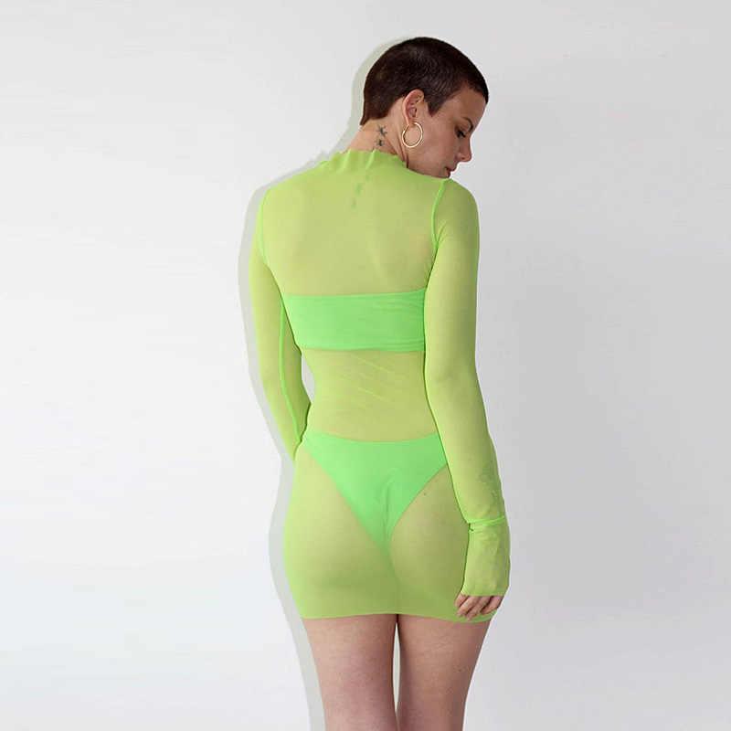Sexy mulher malha sheer ver embora bodeau vestido 2019 verão manga longa o pescoço preto neon verde vestido praia midi clubwear