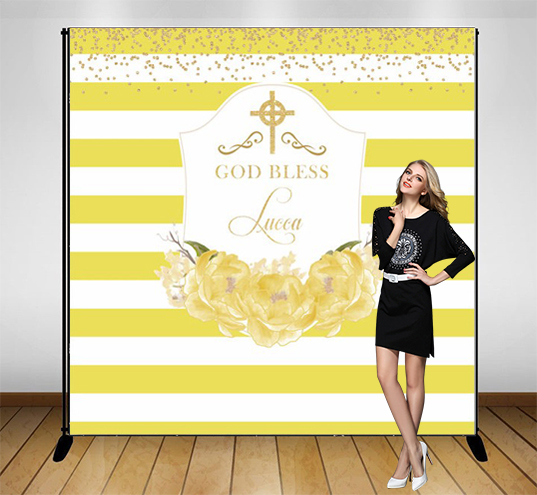custom First Communion Banner god bless Floral striped backdrops  High quality Computer print party photography backgrounds|Background|   - title=