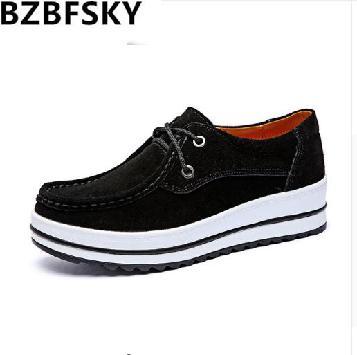 BZBFSKY2018 Spring Women platform sneakers shoes   Leather     Suede   Lace Up slip on flats creepers shoes moccasins women shoes
