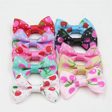 2PCS/LOT Lovely Cherry Small Bow Hairpin For Girl Hair Tie Child Elastic Hair Bands Scrunchy Clips Hair Accessories For Kids(China)