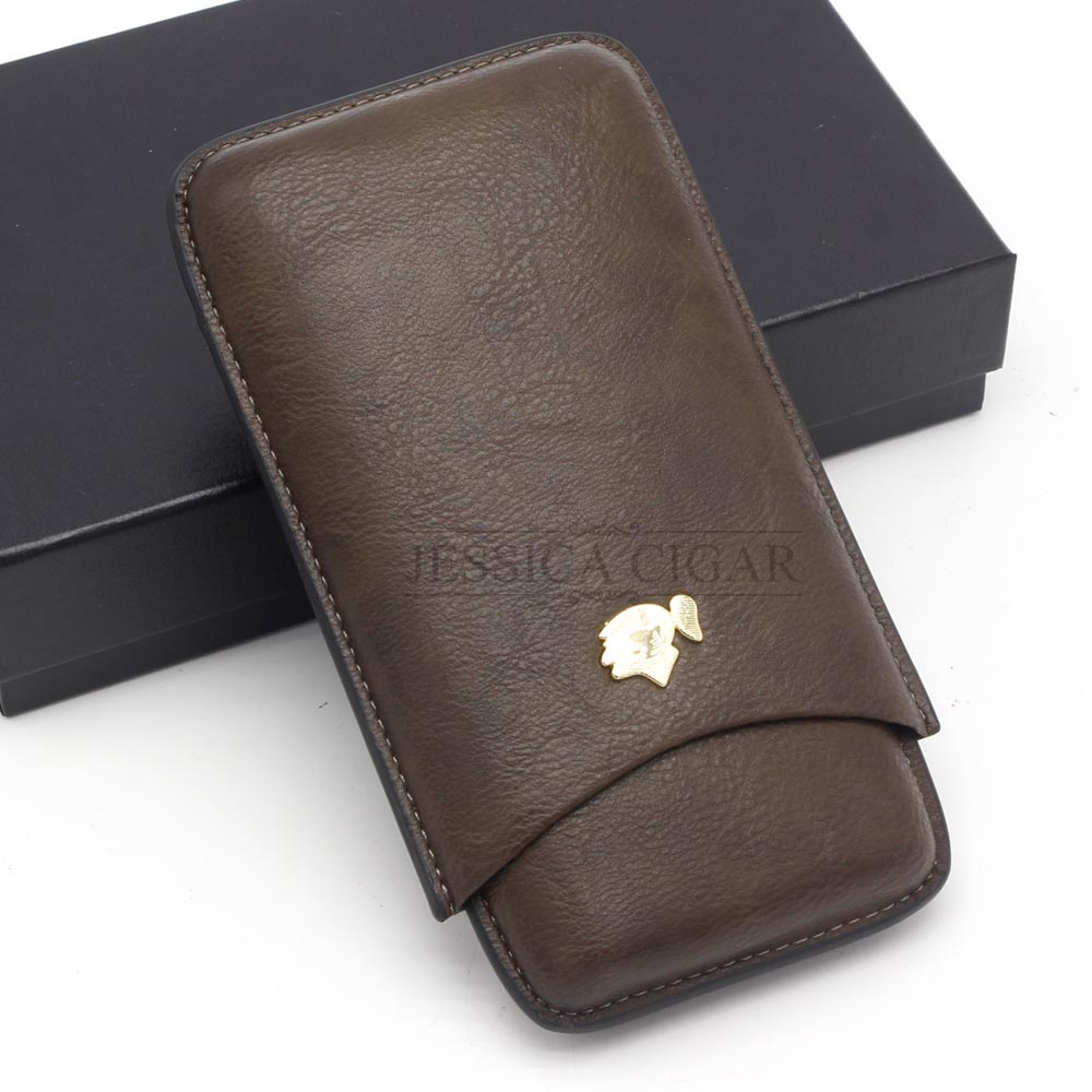 New Arrival COHIBA Gadgets Portable Travel Cigar Case 3 Cigars Tube Holder Mini Leather Humidor with Gift Box