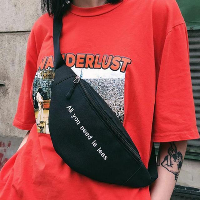 Mulheres Lona Impressão Carta Estilo Harajuku Pacote Peito Packs Saco Da Cintura Unisex Fanny Cinto de Dinheiro buik tasje Barriga Sacos Bolsa chic Z70
