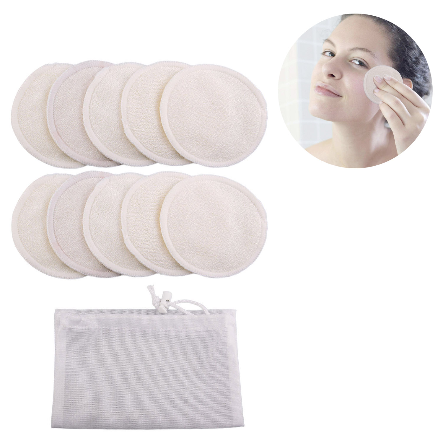 10 Pcs/set Reusable Washable Round Bamboo Makeup Remover Pads With Drawstring Storage Bag 8cm 3.15 Inch Washable Cleaning Pads