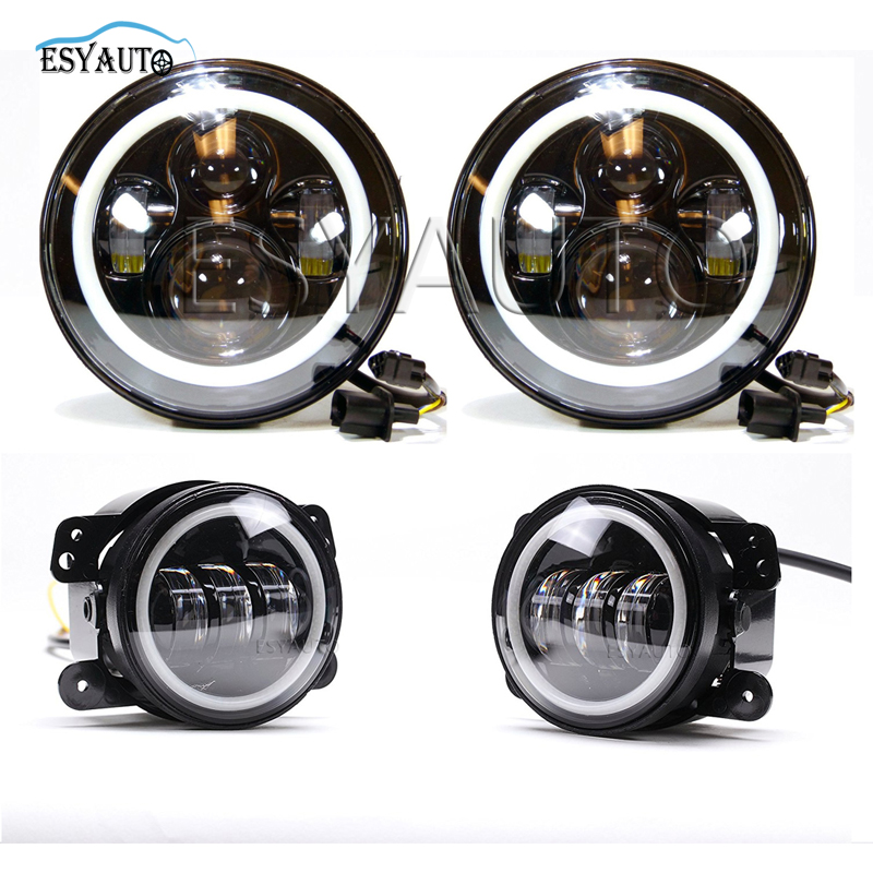 7 inch Headlights LED Angel eyes Halo Ring +4 in. Projector LED Auxiliary Angel eyes fog Lamp White DRL For Jeep Wrangler TJ 2x 3 inch 76mm round led cob projector fog light lamp bulbs with green angel eyes halo ring drl daytime running lamp car auto