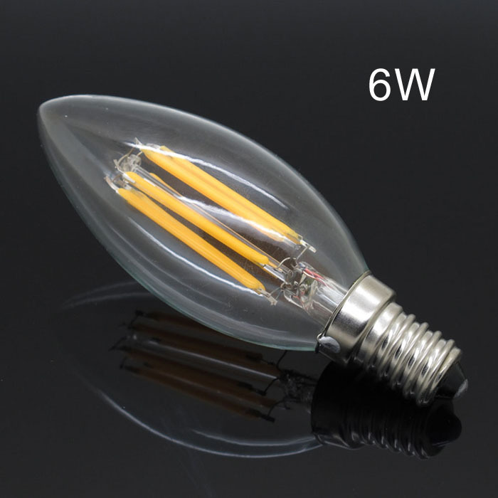 e14 2w 4w 6w 220v e12 110v led filament candle bulbs 360 degree cob light bulb