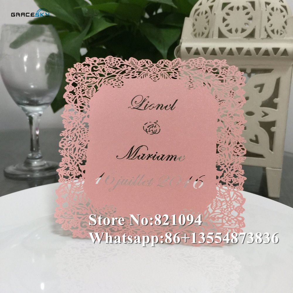 50pcs Lace Flowers pearl paper laser cut wedding Save The Date cards ...