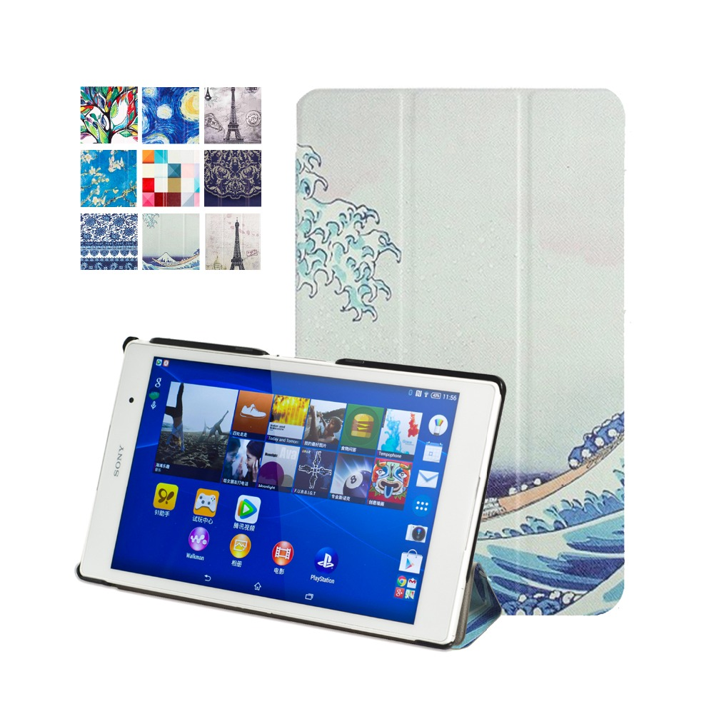 New case for sony xperia Z3 tablet compact cover 8''  2014 PU leather case smart for sony tablet z3+screen protector+stylus