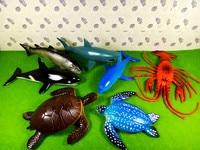 7pcs Big Size Marine Animals Model Toys Sea Life Animal 15 25cm Sea Turtles/Shark/Fish/Dolphin/Lobster Sea Life Figures Pool Toy