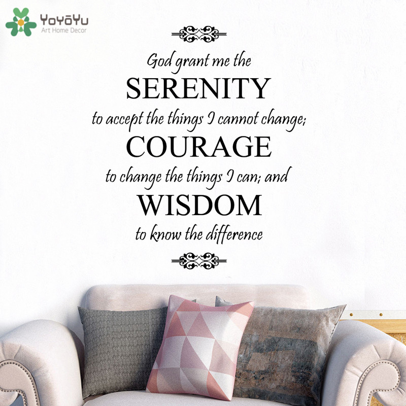 US $6.78 30% OFF|YOYOYU Wall Decal God Saying Serenity Prayer Vinyl Wall  Stickers Spiritual Quote Removable Interior Home Decor Gift Mural CT707-in  ...