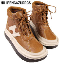 By winter 2017 new Genuine leather boots with thick soles Han cotton casual leather shoes comfort shoes and muffin bottom boots