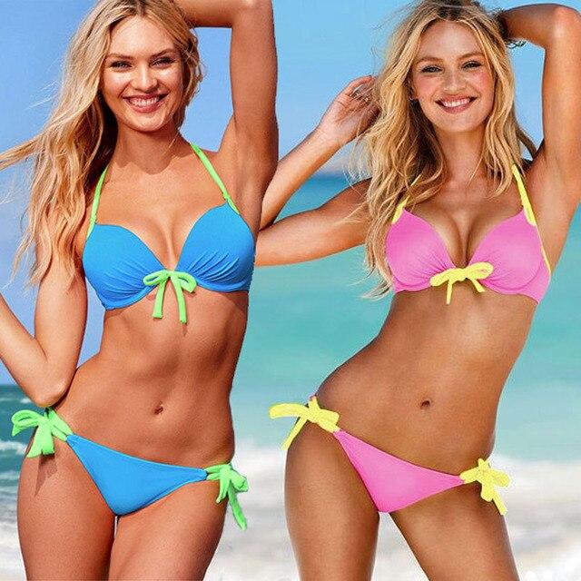 9dbbd55744 2017 Swimsuit Summer New Hot Sexy Pure Color Women Bikini Set Bandage  Swimsuit Brazilian Multi-Color Swimwear Bikini Women
