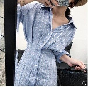 LANMREM 2019 جديد الصيف أزياء ملابس حريمي بدوره إلى أسفل طوق مخطط عالية الخصر قميص اللباس مثير ضئيلة WH51605XL