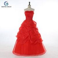 2017 Hotest Beyaz/Kırmızı Ucuz Balo Elbiseleri Straplez Gelinlik Lace Up/Fermuar Prenses Zarif Hamile Annelik DL2080