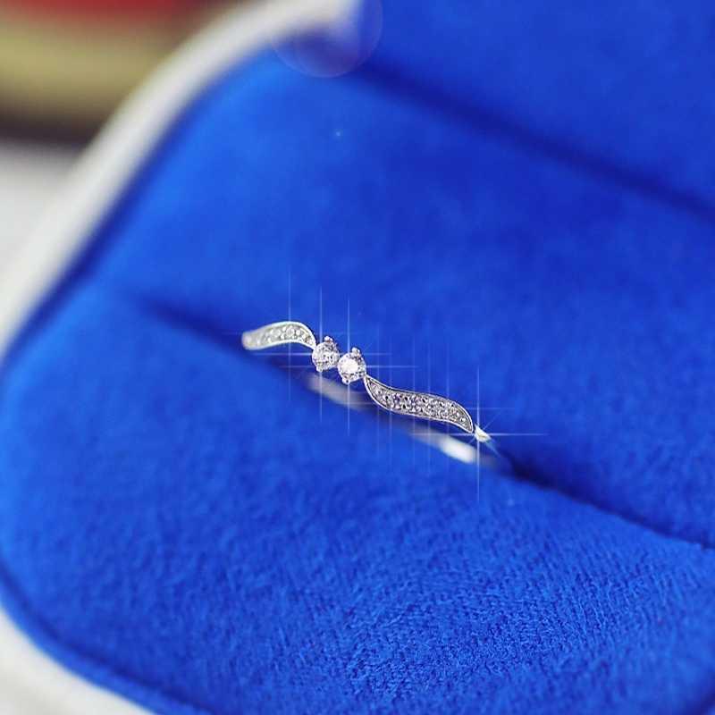Skute Elegant ใบบางแหวน Micro Inlay CZ Zircon Rose Gold สีแหวนนิ้วมือ 925 เครื่องประดับของขวัญ anillos Mujer
