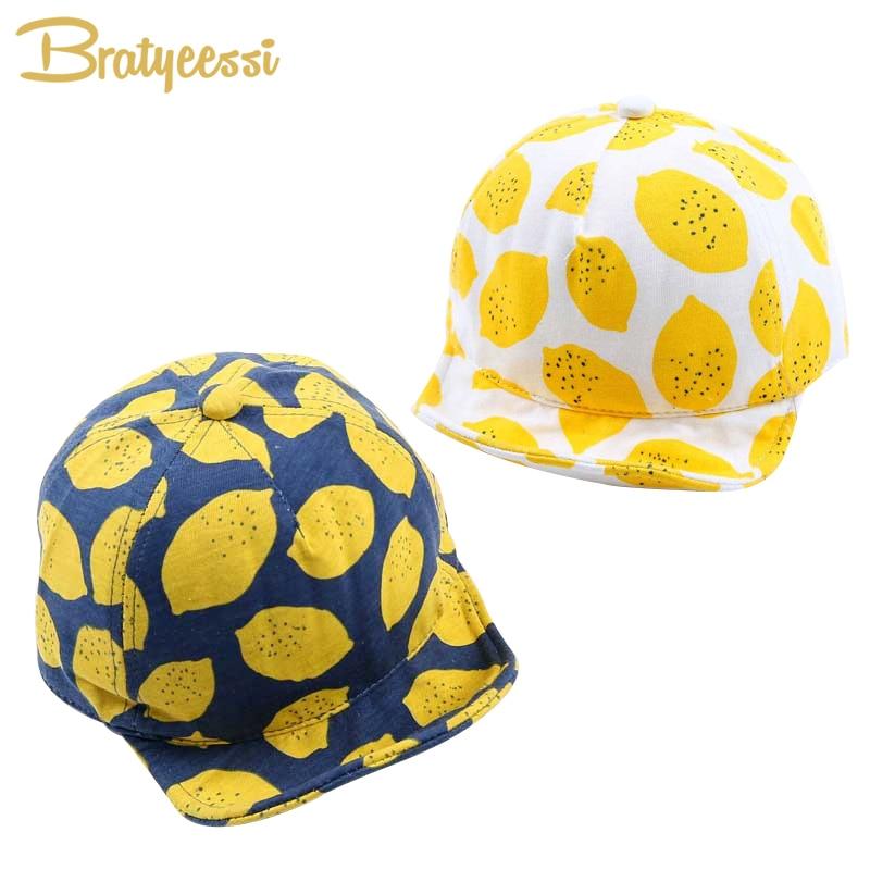 Modes citronu druka Bērnu cepures Jaukas kokvilnas cepure vasaras cepurēm meitenēm zēniem ar mīkstu apmali 6-18 mēnešiem 1 dators