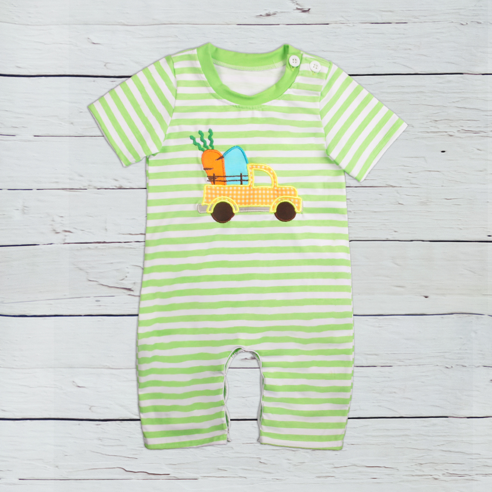 2019 New Fashion   Romper   Kids Boutique Easter Rabbit Applique Holiday Design Baby Clothes   Romper   Girls Easter   Romper