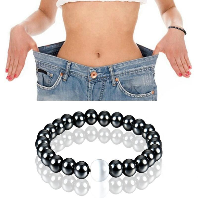 1 pc Perte De Poids Rond Noir Pierre Bracelet de Thérapie Magnétique de Soins de Santé Magnétique Hématite Bracelet Extensible Pour Hommes Femmes