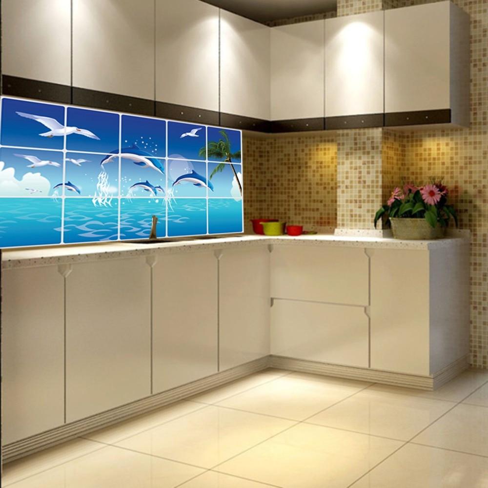 Bathroom kitchen tiles - 1pc Waterproof Bathroom Kitchen Wall Sticker Tile Aluminum Foil Home Decor Wall Sticker Dolphin Fish Beach