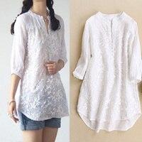 New women blouses Organza embroidery o neck medium long silk cotton linen white shirt female