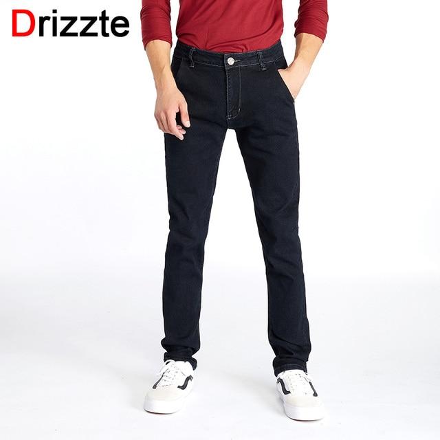 ab42385144 Drizzte männer Stylsih Schwarz Kleid Jeans Dünne Gerade Hohe Stretch Denim  Business Jeans Herren Mann Jeans